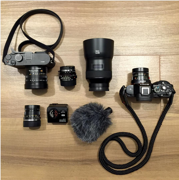 Sony a7R equipped with a sailor strap handmade camera strap