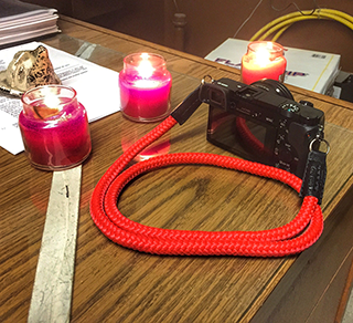 sony a6000 equipped with the LT.Red handmade camera strap, sailor strap