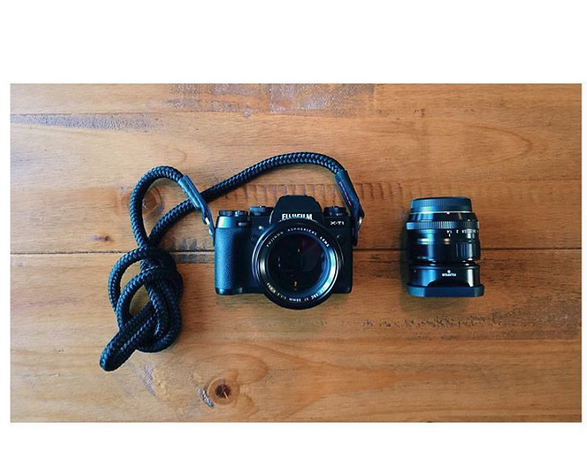 Fujifilm Xt1 camera equipped with the el capitan handmade camera strap