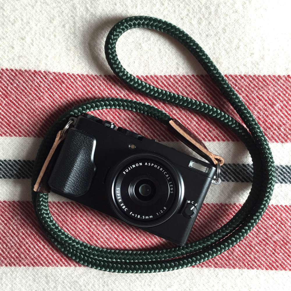 fujifil x70 with skinny jimmy camera strap, handmade