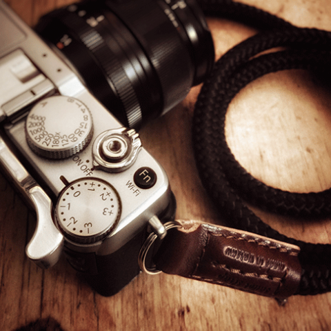 fujifilm x-e2 with handmade cord camera strap by sailor strap