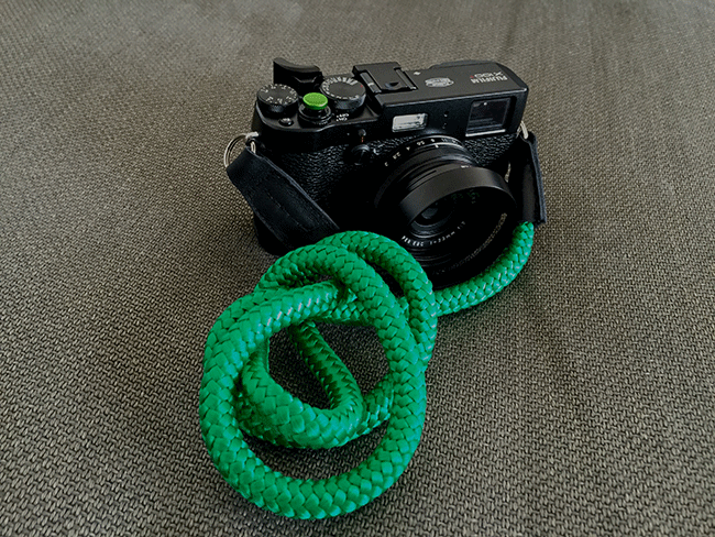 fujifilm x100t with handmade camera strap by sailor strap