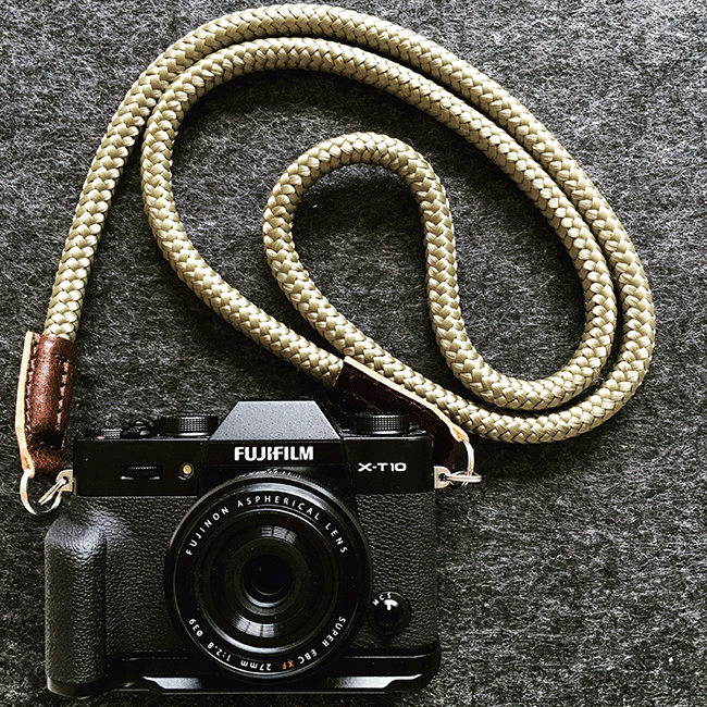 Fujifilm XT10 with a handmade cord camera strap by sailor strap