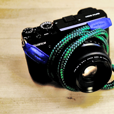 Fuji gfx50r medium format camera with a rope neck handmade camera strap.